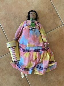 """NATIVE AMERICAN 18"""" HANDMADE Cloth DOLL w/BABY in Papoose -beadwork"""