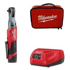 Milwaukee M12FIR38-201B 12v 1x2Ah Li-ion 3/8in Fuel Ratchet Kit Charger, Bag
