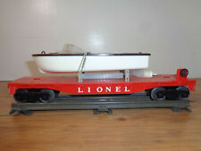 LIONEL O GAUGE # 6501 RED FLAT CAR WITH BROWN AND WHITE MOTOR BOAT