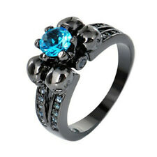 Punk Skull Rings Lake blue Sapphire 10KT Black Gold Filled Engagement Size 6