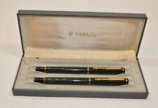 VTG 1984 Parker Vector set Fountain Pen & Ball Point Pen Green Made UK w box
