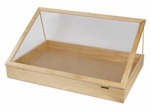 """36 inch Portable Natural Pine Wood Countertop Display Case - 24""""W x 36""""L x 4""""D"""
