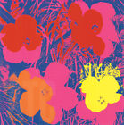 """36W""""x36H"""" FLOWERS 1970 RED, YELLOW, ORANGE ON BLUE by ANDY WARHOL POP ART CANVAS"""