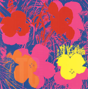 "36W""x36H"" FLOWERS 1970 RED, YELLOW, ORANGE ON BLUE by ANDY WARHOL POP ART CANVAS"