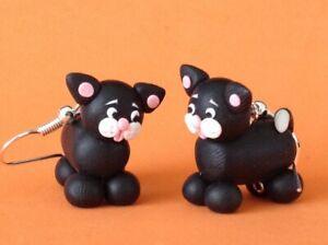 Fun Handmade Fimo Black and white cat Earrings Pet Animal Cute Gift