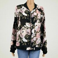 Live 4 Truth Sheer Floral Chiffon Zip Up Bomber Jacket LARGE Black Pink Roses