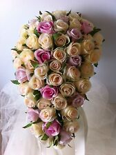 IVORY & ORCHID & PINK ROSES TEARDROP 60 BUDS  BOUQUET ARTIFICIAL SILK FLOWER