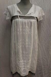 NWT Johnny Was JWLA biya Workshop Daisy Eyelet White Embroidered Dress XL
