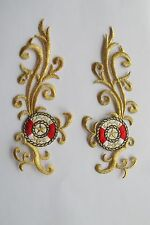 #3729A Gold,Red Trim Fringe Boho Art Embroidery Iron On Applique Patch/Pair