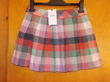 M&S 100%Cotton Adj.Waist Checked Soft Pleat Kilt Skirt 12-13y 158cm PinkMix BNWT