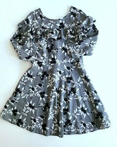Janie and Jack 8 Snowy Cottage Gray Floral Ruffle Knit Dress CC1-42