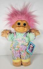 """Vintage Russ Berrie Troll Kidz Joy Pink in floral jumper 12"""""""
