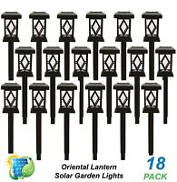 18 x LED Solar Temple Oriental Lantern Garden Path Lights Black Cool White DIY