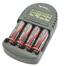 Cargador de Pilas Technoline BC 450 Indicador de Carga Baterias AA AAA NiCd NiMh