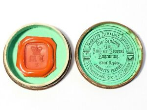Antique Wax Seal Sample in Box with MT Initials +3 Under Crown by Jarrett #ES15