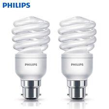 2 Pack Philips Energy Saver Light Bulb 15W B22 CFL Warm White Spiral Light
