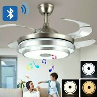 """42"""" Crystal Invisible Ceiling Fan Light Remote Control Music Chandelier LED Lamp"""