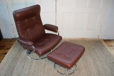 Ekornes Stressless Leather And Chrome  Recliner And Ottoman Mid Century