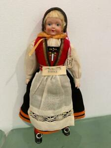 "Hardanger Bunad Vtg Celluloid Doll Norway International Folk Costume 9"""