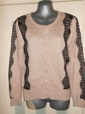NWT beige & black lace fine knit cardigan UK12 EU40 Monsoon