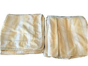 Vtg CROSCILL BEDSKIRT Queen Dust Ruffle  & 2 European Shams Yellow Stripe