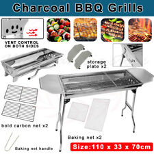 Portable & Foldable Charcoal BBQ Grills Stainless Steel Outdoor Camping AU Stock