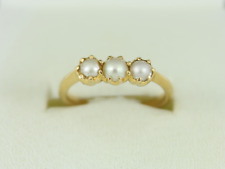 Pearl Trilogy Ring 18ct Gold Ladies Stunning Size M 1/4 750 3.4g Eo46