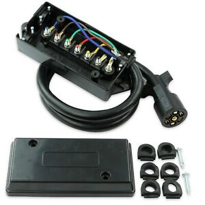 Leisure RV 7 Way Plug Inline Pre-Wired Trailer Cord Junction Box w/ 6 Foot Cable
