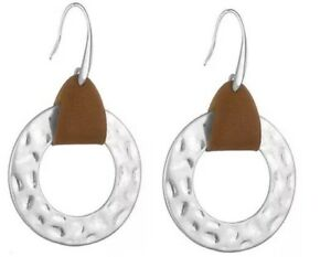 Hammered Circle With PU Leather Earrings