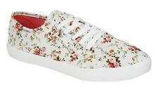 NEW LADIES LACE UP CANVAS SHOE DELICATE FLORAL PRINT COMFORTABLE SUMMER SHOE