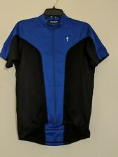Specialized Men's Full Zip Short Sleeve Cycling Jersey Size Medium Blue Black E1
