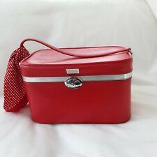 Vintage Amelia Earheart red vanity case train case make up box burlesque storage