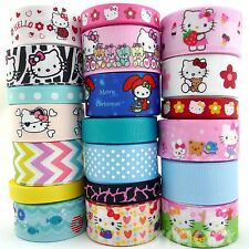 "20 Yards Cartoon Kitty Grosgrain Ribbon Lots 3/8""--1"" Assorted 20 Styles Party"