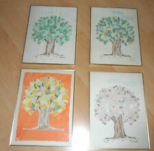 4 Bilder Jahreszeiten Baum Seidenmalerei goldfarbenen Rahmen 40x30cm 80er Jahre