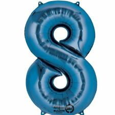 Number 8 Blue SuperShape Foil Balloon Birthday Anniversary Party Decorations