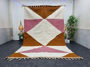 "Moroccan Handmade Kilim Zanafi Rug 6'2""x10' Berber Geometric White Brown Carpet"