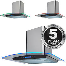 SIA 60cm Touch Control St/Steel 3 Colour LED Edge Lit Curved Glass Cooker Hood