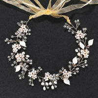 Exquisite Gold Beaded Vine Floral Bridal Halo Crystal Pearl Wedding Headpieces