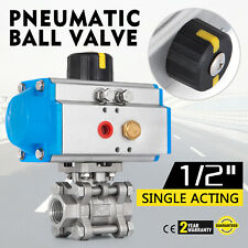 "1/2"" Pneumatic Ball Valve Single Acting 3 Pieces Swimming Pool Liquid Food"