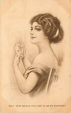 c1910 Postcard; Pretty Woman Playing Cards, How Would You Like to be My Partner?
