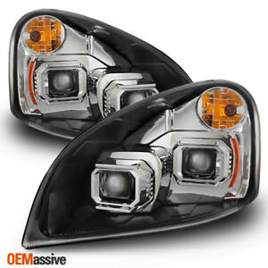 Fit 2008-2017 Freightliner Cascadia Chrome Dual Projector Headlights Replacement
