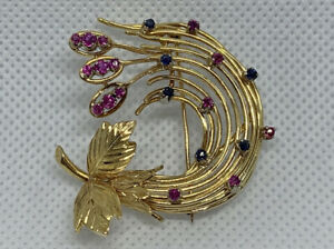Large Heavy 18K Solid Yellow Gold, Ruby & Sapphires Retro Style Pin / Brooch