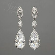 18K White Gold Plated Cubic Zirconia CZ Wedding Bridal Drop Dangle Earrings 2960