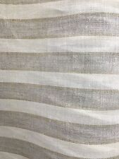 Natural Ivory Striped 100% Linen Fabric (60 in.) Sold By The Yard