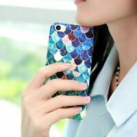 Fish Scales Contrast Color PC Hard Phone Cover Case for iPhone Samsung Phones