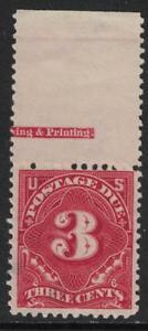 Scott J40 w/ Imprint- Mint, thin- 3c Postage Due- 1895-97, Perf 12, DL Watermark