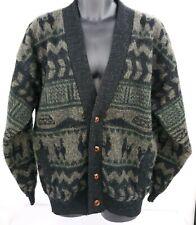 Tejidos Ruminahui Mens Size XL Cardigan Sweater Wool Llama Aztec Button EUC