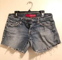 Guess Distressed Denim Cut Off Shorts Frayed Blue Womens Size 24