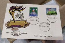 1958 1st anniversary independence Malaya Merdeka Stamp FDC Purple Variety