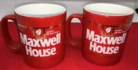 PAIR VINTAGE MAXWELL HOUSE COFFEE CUP MUG RED GOLD TRIM KILN CRAFT